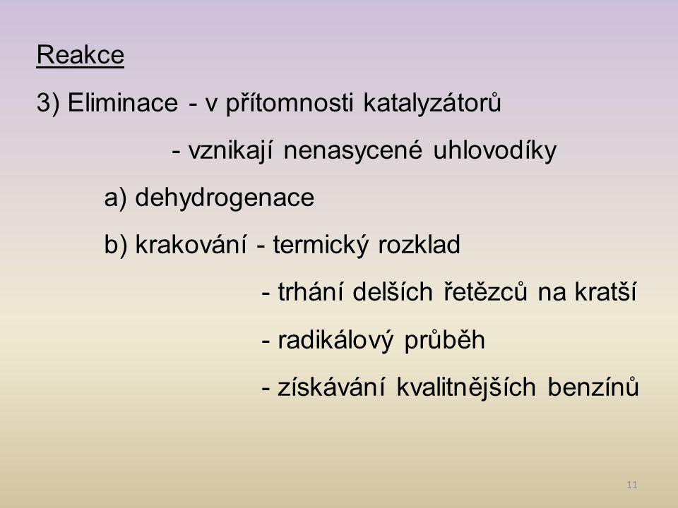 11 Reakce 3) Eliminace - v přítomnosti katalyzátorů - vznikají nenasycené uhlovodíky a) dehydrogenace b) krakování - termický rozklad - trhání delších řetězců na kratší - radikálový průběh - získávání kvalitnějších benzínů