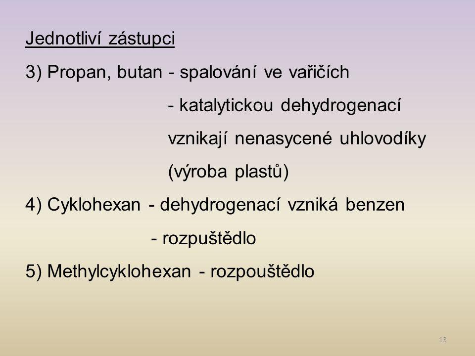 13 Jednotliví zástupci 3) Propan, butan - spalování ve vařičích - katalytickou dehydrogenací vznikají nenasycené uhlovodíky (výroba plastů) 4) Cyklohexan - dehydrogenací vzniká benzen - rozpuštědlo 5) Methylcyklohexan - rozpouštědlo