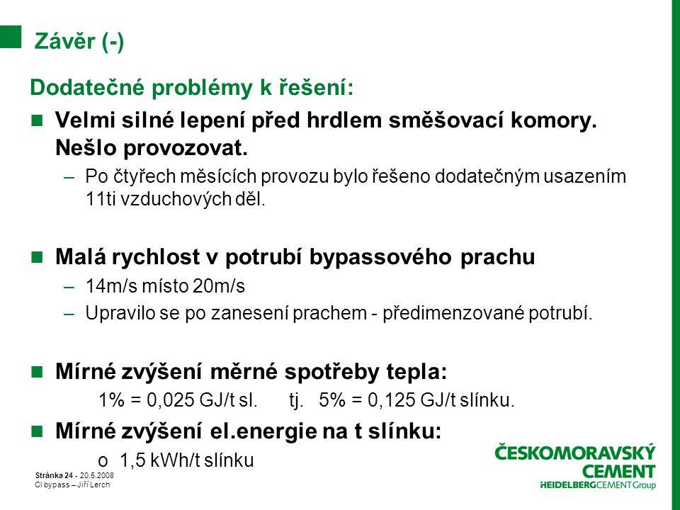 Stránka 24 - 20.5.2008 Cl bypass – Jiří Lerch Závěr (-) Dodatečné problémy k řešení: Velmi silné lepení před hrdlem směšovací komory. Nešlo provozovat