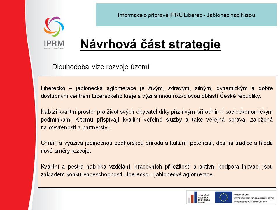 Návrhová část strategie Dlouhodobá vize rozvoje území Informace o přípravě IPRÚ Liberec - Jablonec nad Nisou
