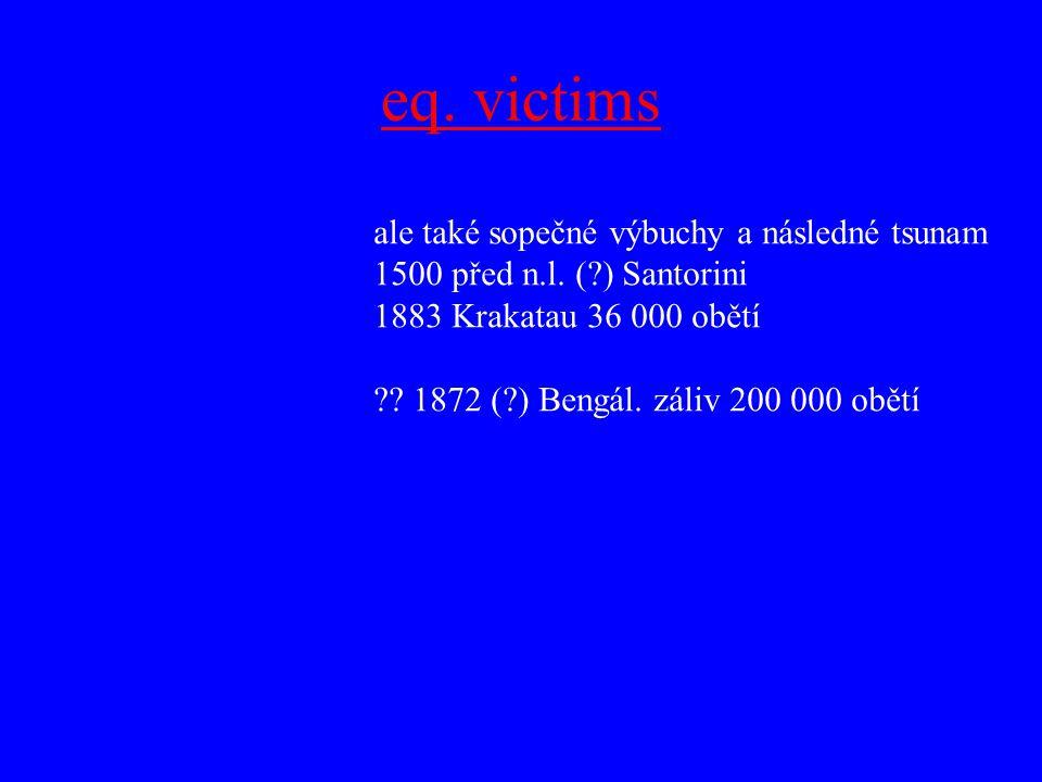 eq. victims ale také sopečné výbuchy a následné tsunam 1500 před n.l. (?) Santorini 1883 Krakatau 36 000 obětí ?? 1872 (?) Bengál. záliv 200 000 obětí