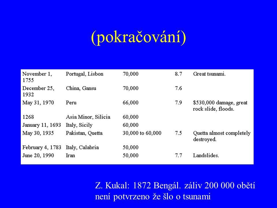 (pokračování) Z. Kukal: 1872 Bengál. záliv 200 000 obětí není potvrzeno že šlo o tsunami