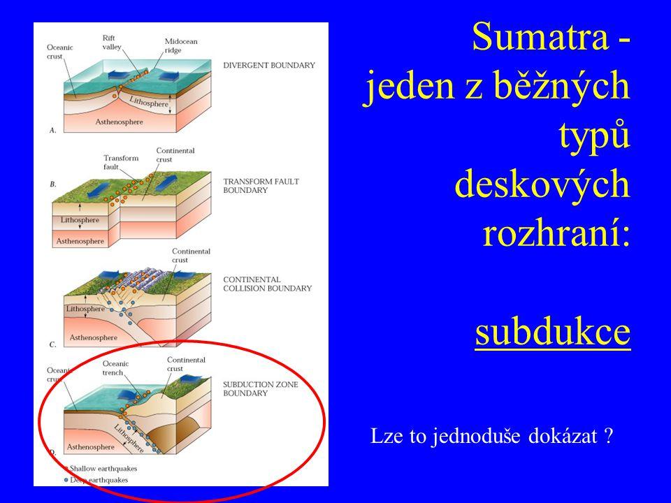 Sumatra - jeden z běžných typů deskových rozhraní: subdukce Lze to jednoduše dokázat ?
