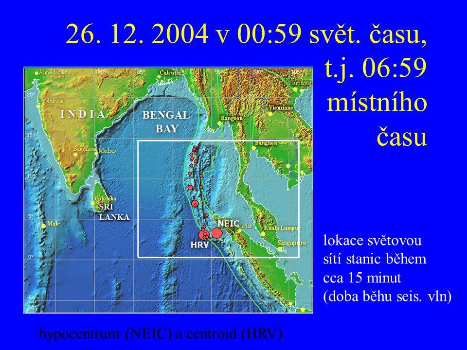 26. 12. 2004 v 00:59 svět. času, t.j. 06:59 místního času lokace světovou sítí stanic během cca 15 minut (doba běhu seis. vln) hypocentrum (NEIC) a ce