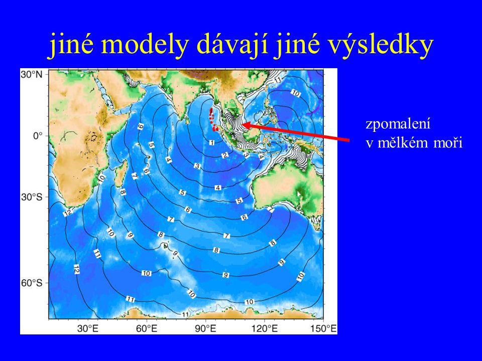 jiné modely dávají jiné výsledky zpomalení v mělkém moři