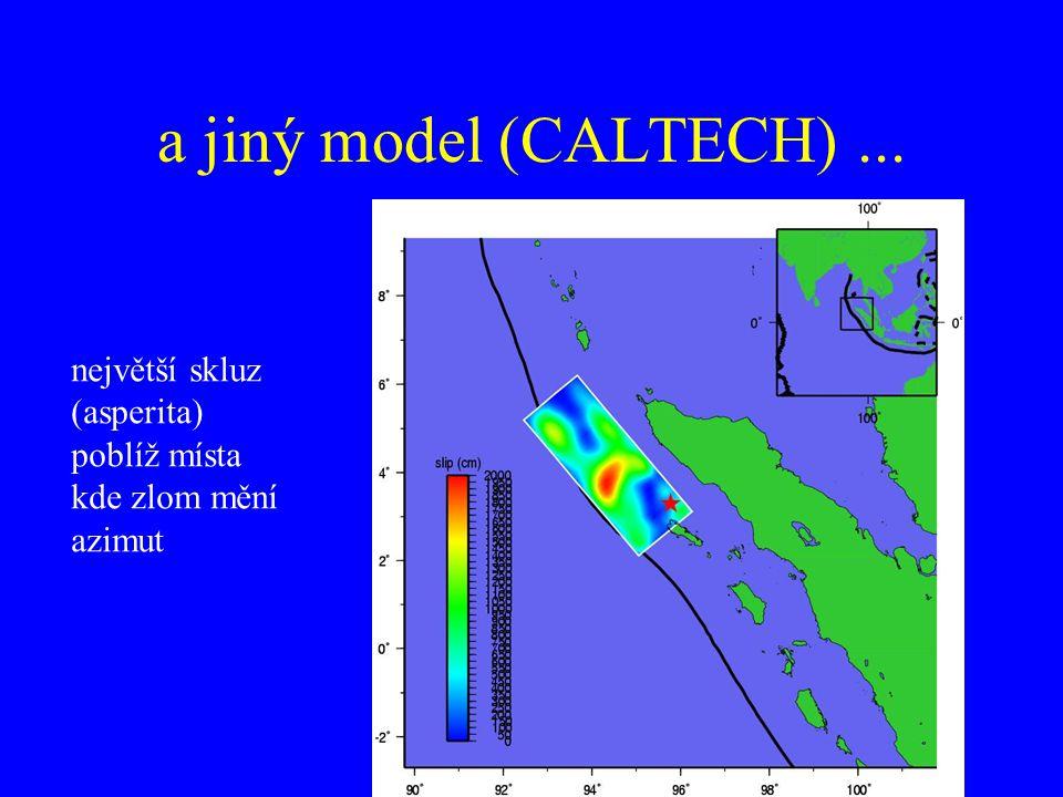 a jiný model (CALTECH)... největší skluz (asperita) poblíž místa kde zlom mění azimut