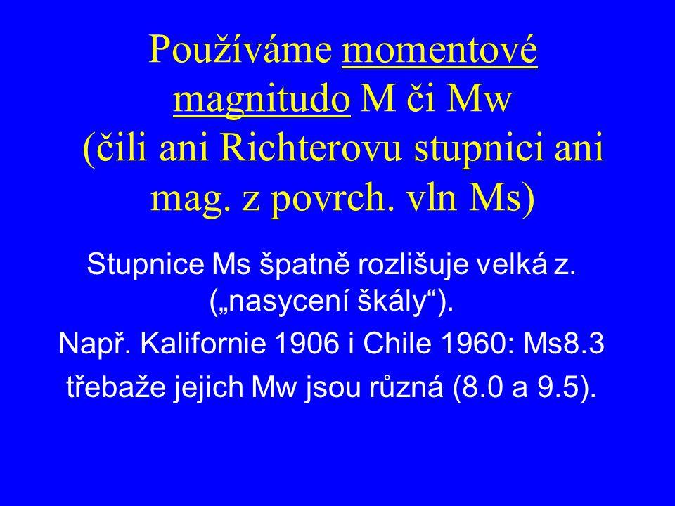 """Používáme momentové magnitudo M či Mw (čili ani Richterovu stupnici ani mag. z povrch. vln Ms) Stupnice Ms špatně rozlišuje velká z. (""""nasycení škály"""""""