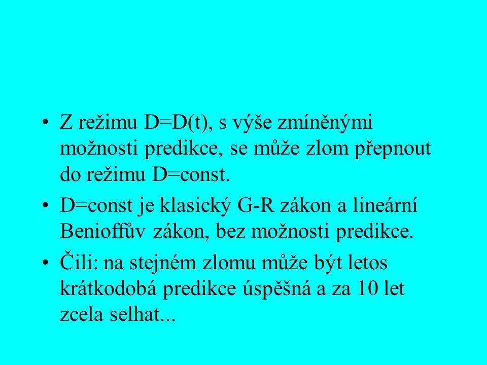 Z režimu D=D(t), s výše zmíněnými možnosti predikce, se může zlom přepnout do režimu D=const. D=const je klasický G-R zákon a lineární Benioffův zákon