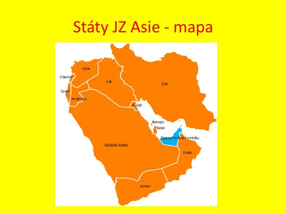Státy JZ Asie - mapa
