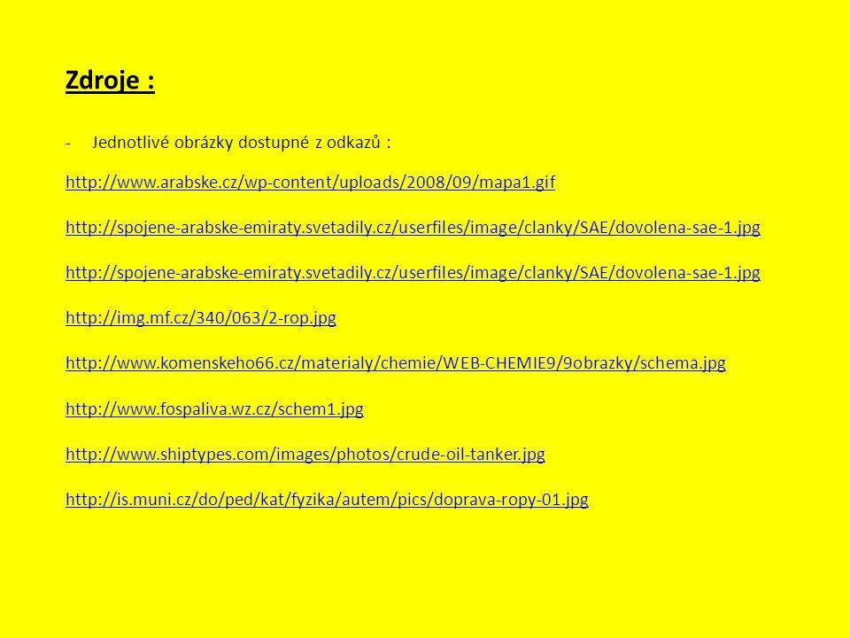 Zdroje : -Jednotlivé obrázky dostupné z odkazů : http://www.arabske.cz/wp-content/uploads/2008/09/mapa1.gif http://spojene-arabske-emiraty.svetadily.c