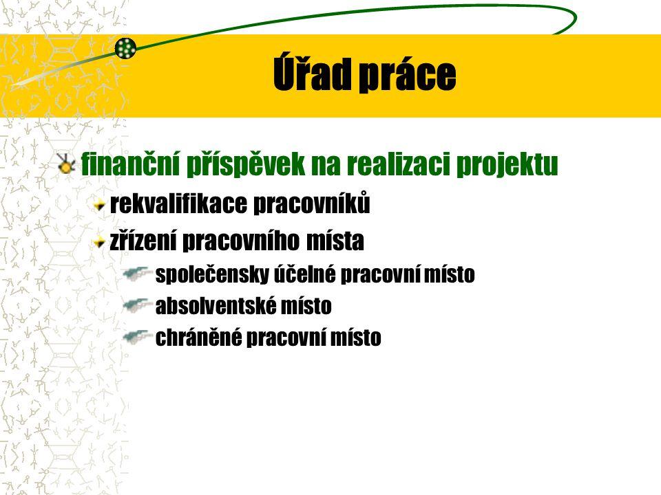 Úřad práce finanční příspěvek na realizaci projektu rekvalifikace pracovníků zřízení pracovního místa společensky účelné pracovní místo absolventské místo chráněné pracovní místo