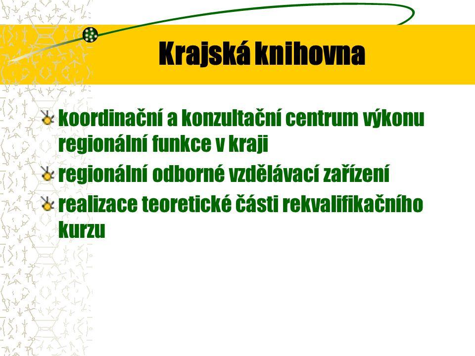Krajská knihovna koordinační a konzultační centrum výkonu regionální funkce v kraji regionální odborné vzdělávací zařízení realizace teoretické části