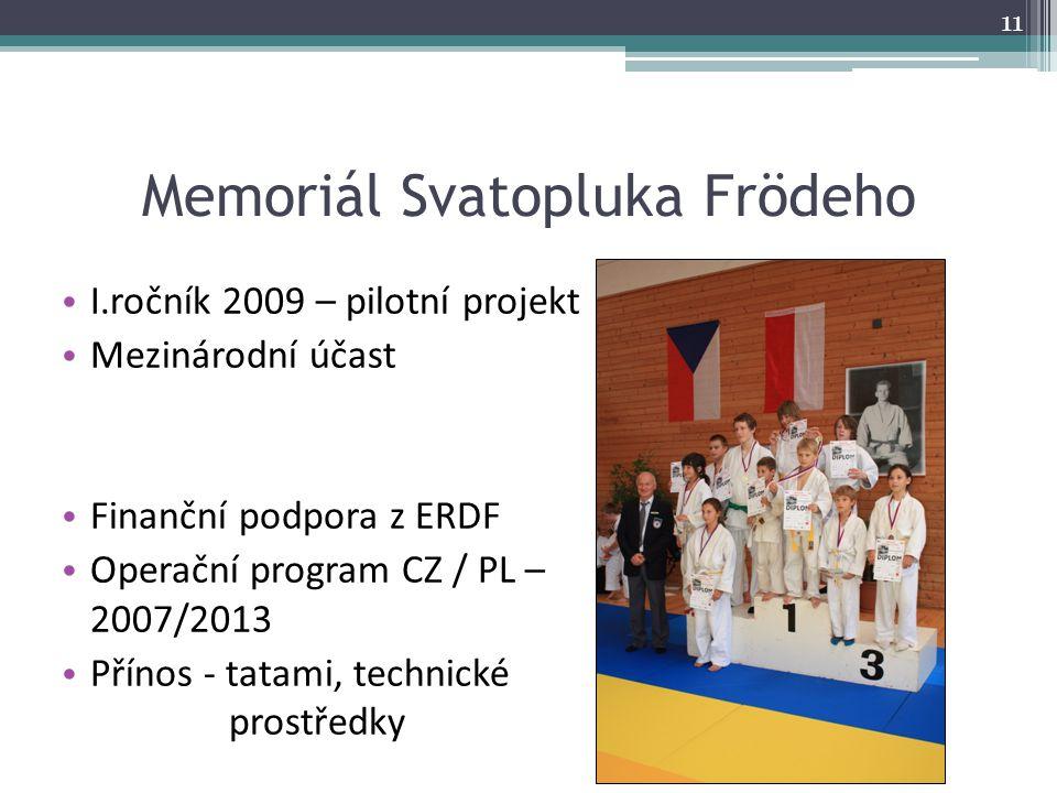 Memoriál Svatopluka Frödeho I.ročník 2009 – pilotní projekt Mezinárodní účast Finanční podpora z ERDF Operační program CZ / PL – 2007/2013 Přínos - ta