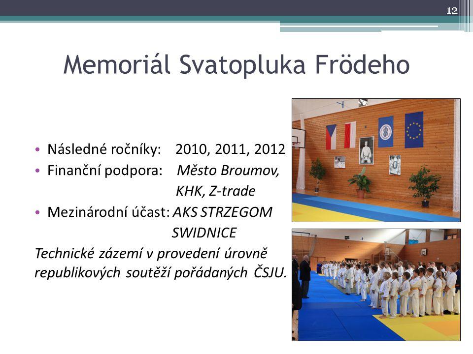 Memoriál Svatopluka Frödeho Následné ročníky: 2010, 2011, 2012 Finanční podpora: Město Broumov, KHK, Z-trade Mezinárodní účast: AKS STRZEGOM SWIDNICE
