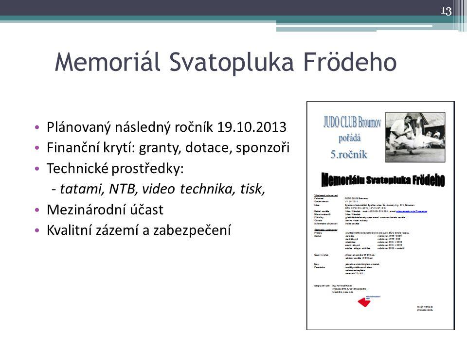 Memoriál Svatopluka Frödeho Plánovaný následný ročník 19.10.2013 Finanční krytí: granty, dotace, sponzoři Technické prostředky: - tatami, NTB, video t