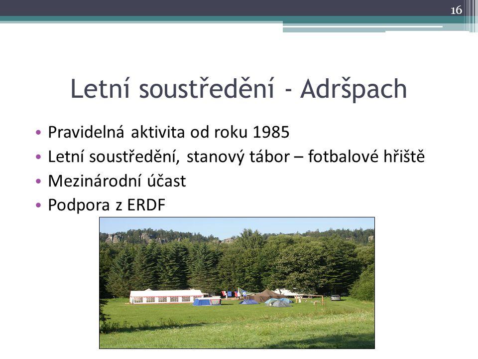 Letní soustředění - Adršpach Pravidelná aktivita od roku 1985 Letní soustředění, stanový tábor – fotbalové hřiště Mezinárodní účast Podpora z ERDF 16