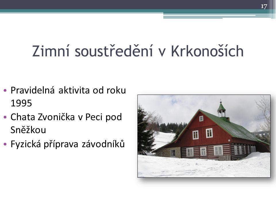 Zimní soustředění v Krkonoších Pravidelná aktivita od roku 1995 Chata Zvonička v Peci pod Sněžkou Fyzická příprava závodníků 17