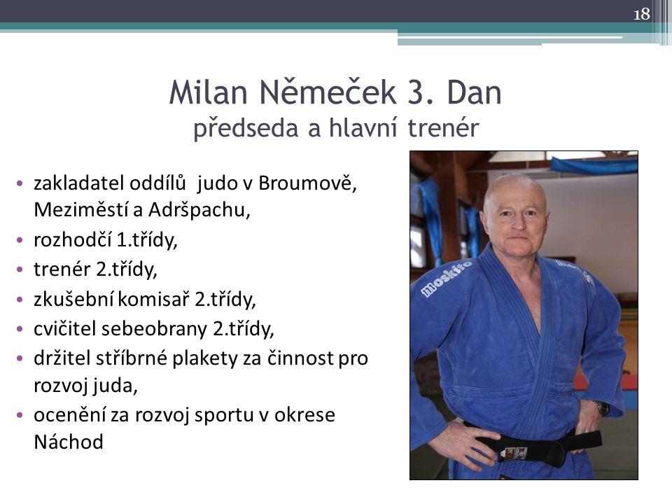 Milan Němeček 3. Dan předseda a hlavní trenér zakladatel oddílů judo v Broumově, Meziměstí a Adršpachu, rozhodčí 1.třídy, trenér 2.třídy, zkušební kom
