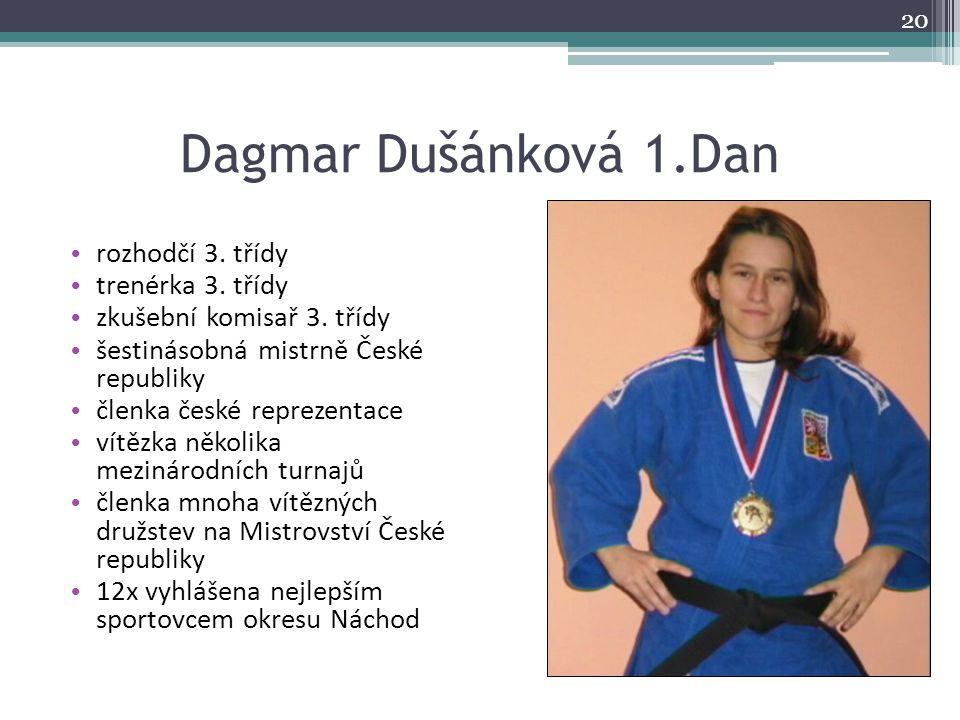 Dagmar Dušánková 1.Dan rozhodčí 3. třídy trenérka 3. třídy zkušební komisař 3. třídy šestinásobná mistrně České republiky členka české reprezentace ví
