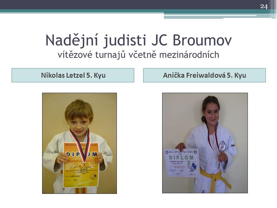 Nadějní judisti JC Broumov vítězové turnajů včetně mezinárodních Nikolas Letzel 5. KyuAnička Freiwaldová 5. Kyu 24