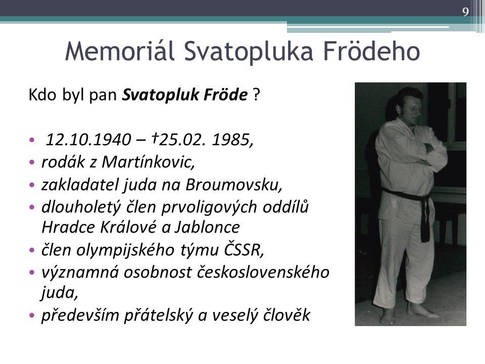 Memoriál Svatopluka Frödeho Kdo byl pan Svatopluk Fröde ? 12.10.1940 – †25.02. 1985, rodák z Martínkovic, zakladatel juda na Broumovsku, dlouholetý čl