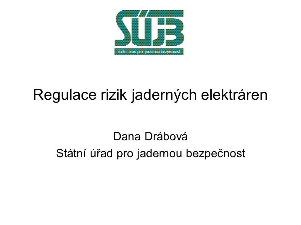 Regulace rizik jaderných elektráren Dana Drábová Státní úřad pro jadernou bezpečnost