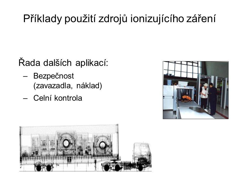 Příklady použití zdrojů ionizujícího záření Řada dalších aplikací: –Bezpečnost (zavazadla, náklad) –Celní kontrola