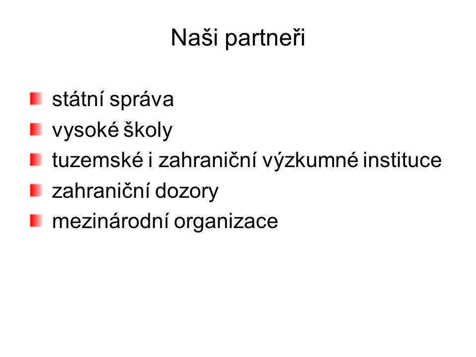Naši partneři státní správa vysoké školy tuzemské i zahraniční výzkumné instituce zahraniční dozory mezinárodní organizace