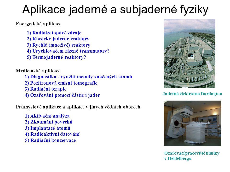 Energetické aplikace 1) Radioizotopové zdroje 2) Klasické jaderné reaktory 3) Rychlé (množivé) reaktory 4) Urychlovačem řízené transmutory.