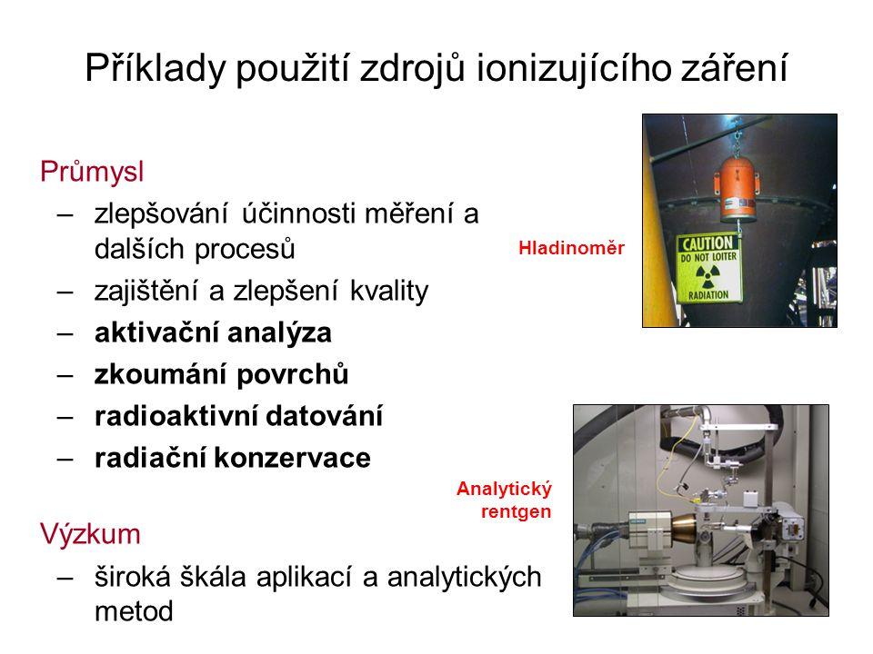 Příklady použití zdrojů ionizujícího záření Průmysl –zlepšování účinnosti měření a dalších procesů –zajištění a zlepšení kvality –aktivační analýza –zkoumání povrchů –radioaktivní datování –radiační konzervace Výzkum –široká škála aplikací a analytických metod Hladinoměr Analytický rentgen