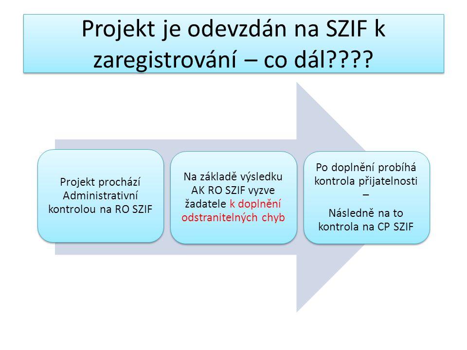 Projekt je odevzdán na SZIF k zaregistrování – co dál???.