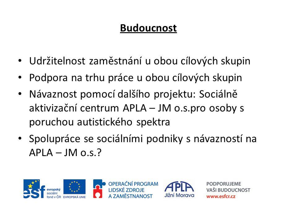Budoucnost Udržitelnost zaměstnání u obou cílových skupin Podpora na trhu práce u obou cílových skupin Návaznost pomocí dalšího projektu: Sociálně akt