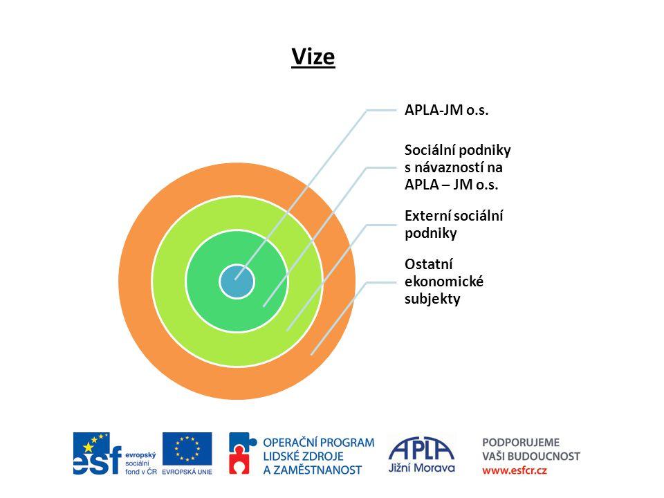 Vize APLA-JM o.s. Sociální podniky s návazností na APLA – JM o.s. Externí sociální podniky Ostatní ekonomické subjekty