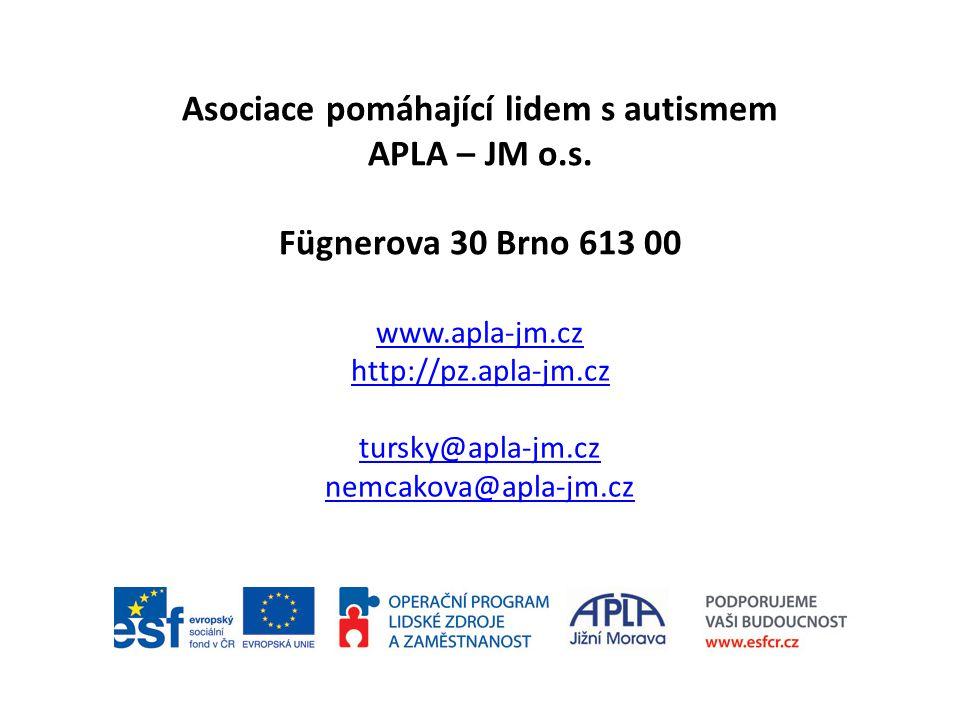 Asociace pomáhající lidem s autismem APLA – JM o.s. Fügnerova 30 Brno 613 00 www.apla-jm.cz http://pz.apla-jm.cz tursky@apla-jm.cz nemcakova@apla-jm.c
