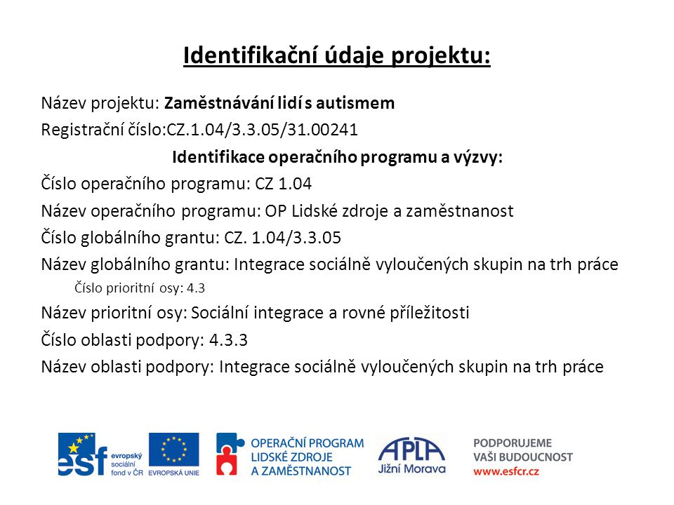 Identifikační údaje projektu: Název projektu: Zaměstnávání lidí s autismem Registrační číslo:CZ.1.04/3.3.05/31.00241 Identifikace operačního programu