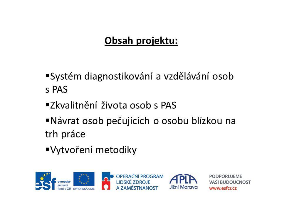 Obsah projektu:  Systém diagnostikování a vzdělávání osob s PAS  Zkvalitnění života osob s PAS  Návrat osob pečujících o osobu blízkou na trh práce  Vytvoření metodiky