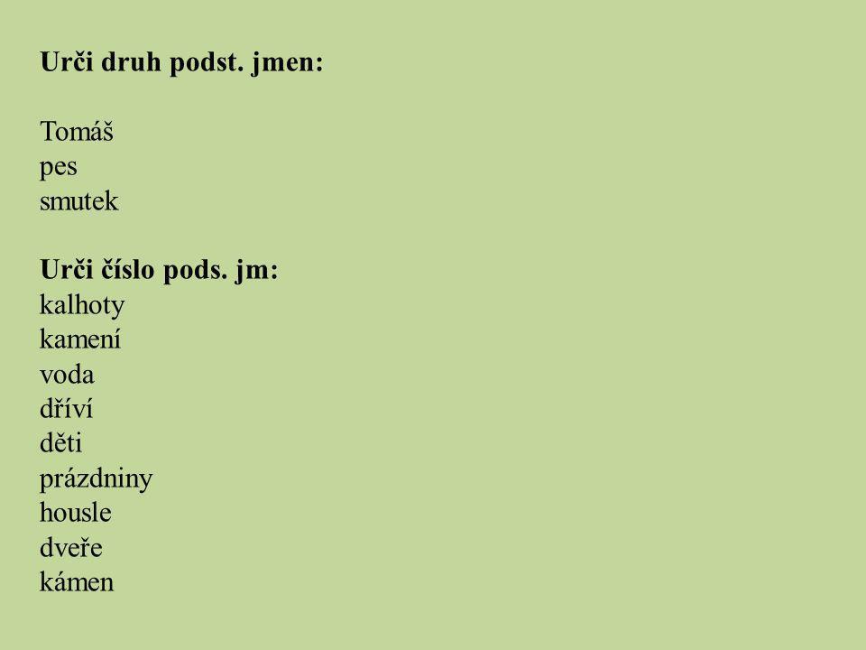 Urči druh podst. jmen: Tomáš pes smutek Urči číslo pods. jm: kalhoty kamení voda dříví děti prázdniny housle dveře kámen
