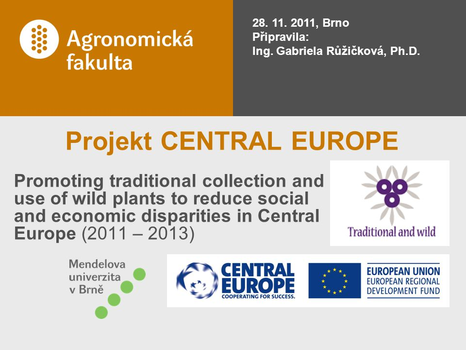 Projekt CENTRAL EUROPE Promoting traditional collection and use of wild plants to reduce social and economic disparities in Central Europe (2011 – 2013) 28.
