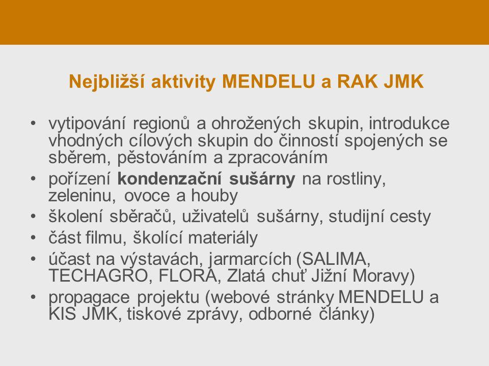 Nejbližší aktivity MENDELU a RAK JMK vytipování regionů a ohrožených skupin, introdukce vhodných cílových skupin do činností spojených se sběrem, pěst