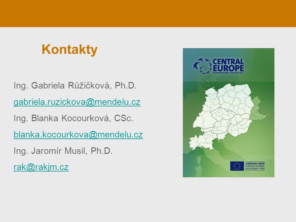Kontakty Ing. Gabriela Růžičková, Ph.D. gabriela.ruzickova@mendelu.cz Ing. Blanka Kocourková, CSc. blanka.kocourkova@mendelu.cz Ing. Jaromír Musil, Ph