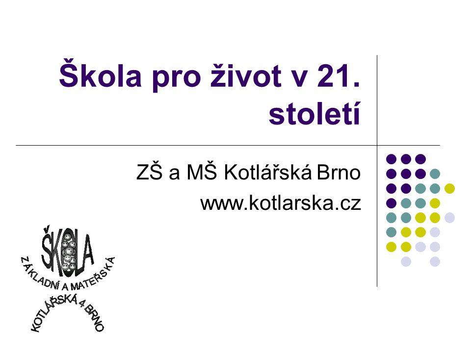 Škola pro život v 21. století ZŠ a MŠ Kotlářská Brno www.kotlarska.cz