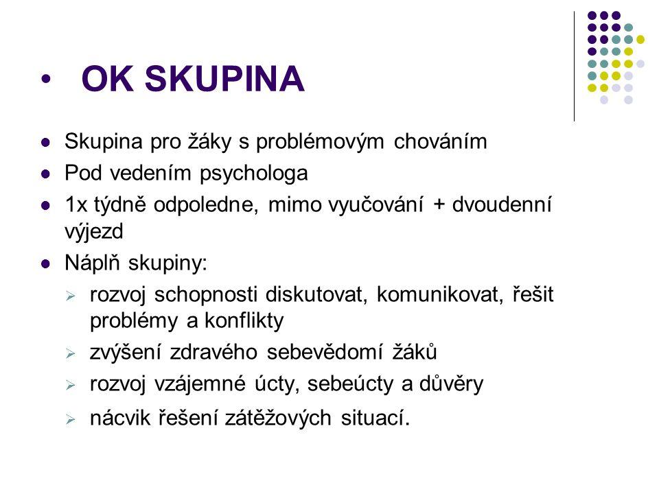 OK SKUPINA Skupina pro žáky s problémovým chováním Pod vedením psychologa 1x týdně odpoledne, mimo vyučování + dvoudenní výjezd Náplň skupiny:  rozvo