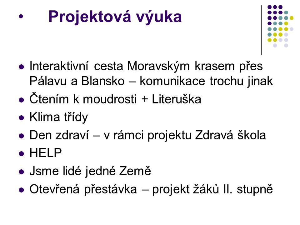 Projektová výuka Interaktivní cesta Moravským krasem přes Pálavu a Blansko – komunikace trochu jinak Čtením k moudrosti + Literuška Klima třídy Den zd