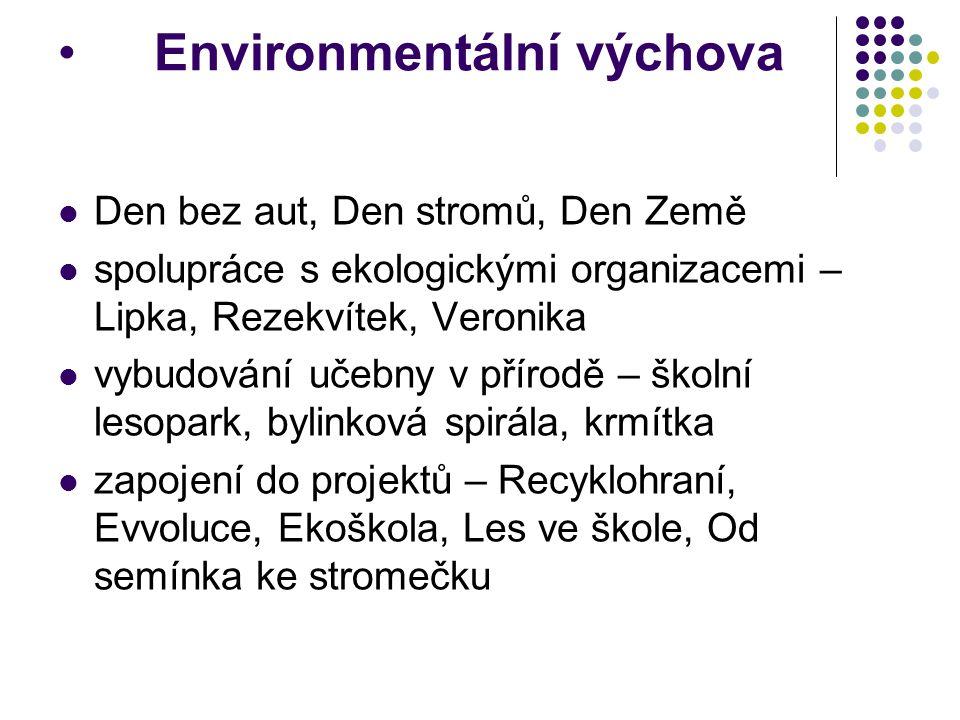 Environmentální výchova Den bez aut, Den stromů, Den Země spolupráce s ekologickými organizacemi – Lipka, Rezekvítek, Veronika vybudování učebny v pří