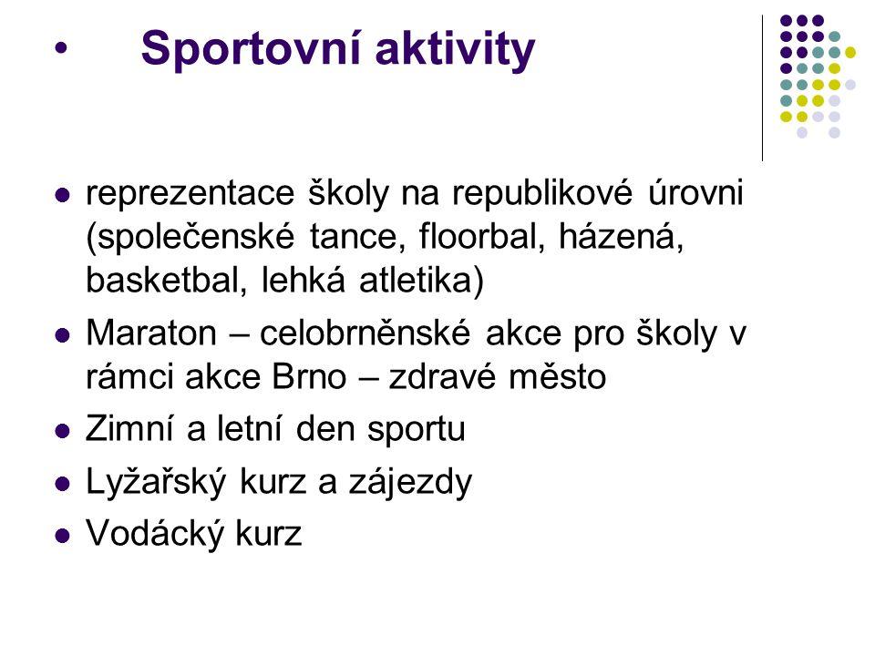 Sportovní aktivity reprezentace školy na republikové úrovni (společenské tance, floorbal, házená, basketbal, lehká atletika) Maraton – celobrněnské ak
