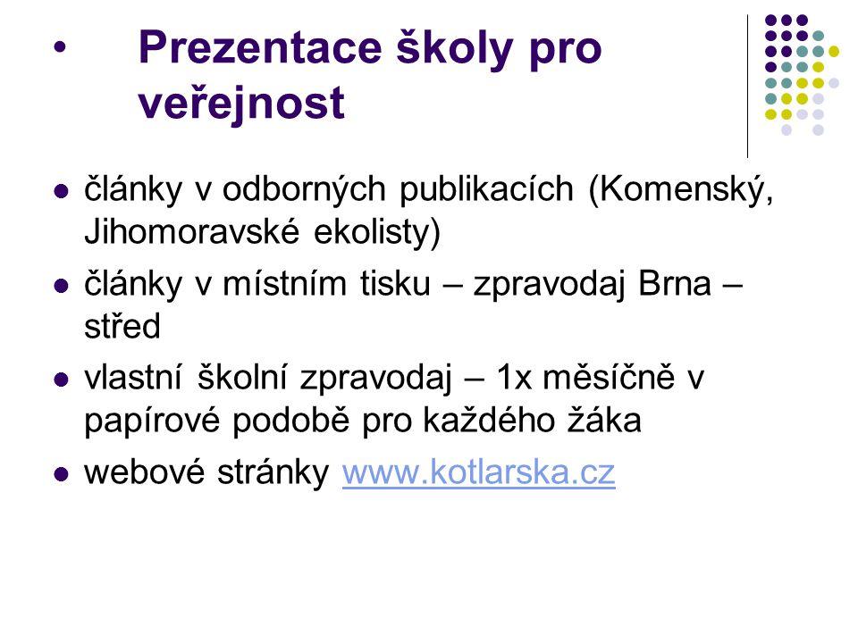 Prezentace školy pro veřejnost články v odborných publikacích (Komenský, Jihomoravské ekolisty) články v místním tisku – zpravodaj Brna – střed vlastn
