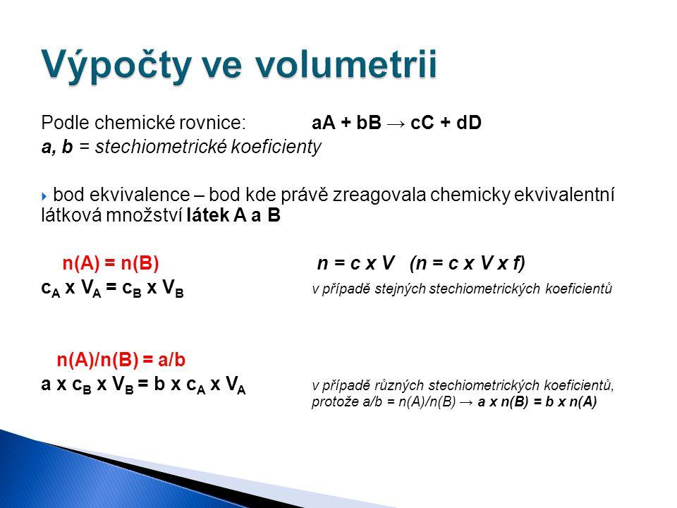 Podle chemické rovnice:aA + bB → cC + dD a, b = stechiometrické koeficienty  bod ekvivalence – bod kde právě zreagovala chemicky ekvivalentní látková