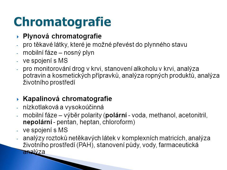  Plynová chromatografie - pro těkavé látky, které je možné převést do plynného stavu - mobilní fáze – nosný plyn - ve spojení s MS - pro monitorování