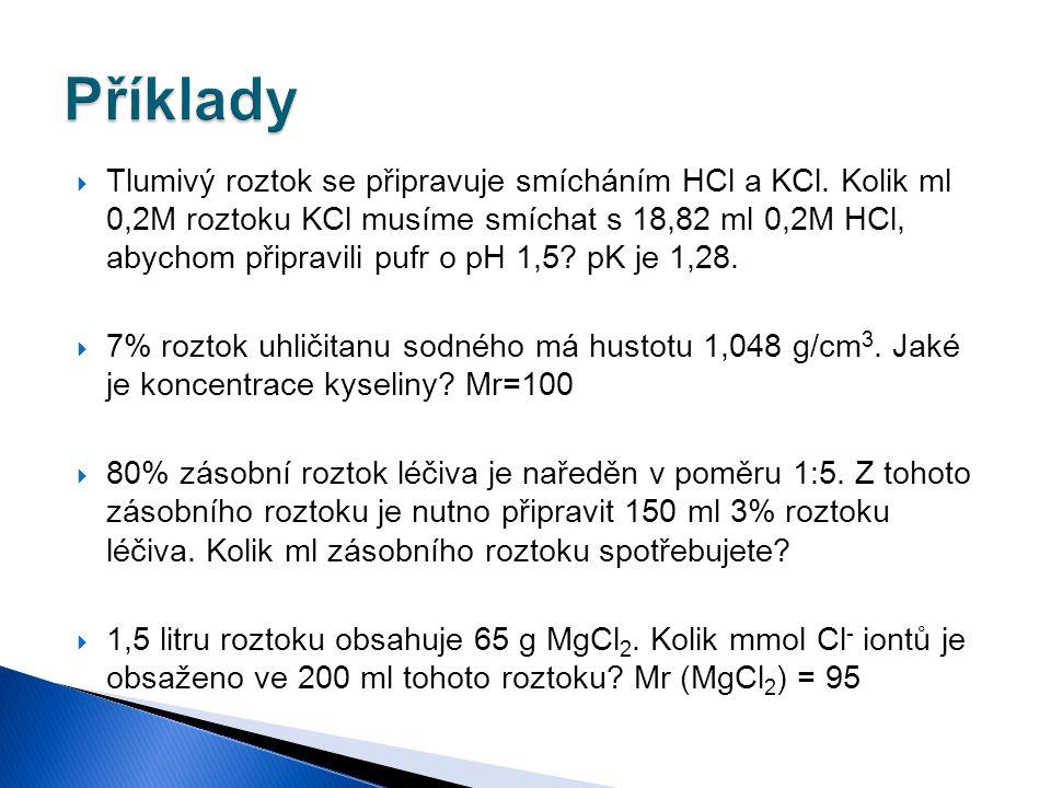  Tlumivý roztok se připravuje smícháním HCl a KCl. Kolik ml 0,2M roztoku KCl musíme smíchat s 18,82 ml 0,2M HCl, abychom připravili pufr o pH 1,5? pK