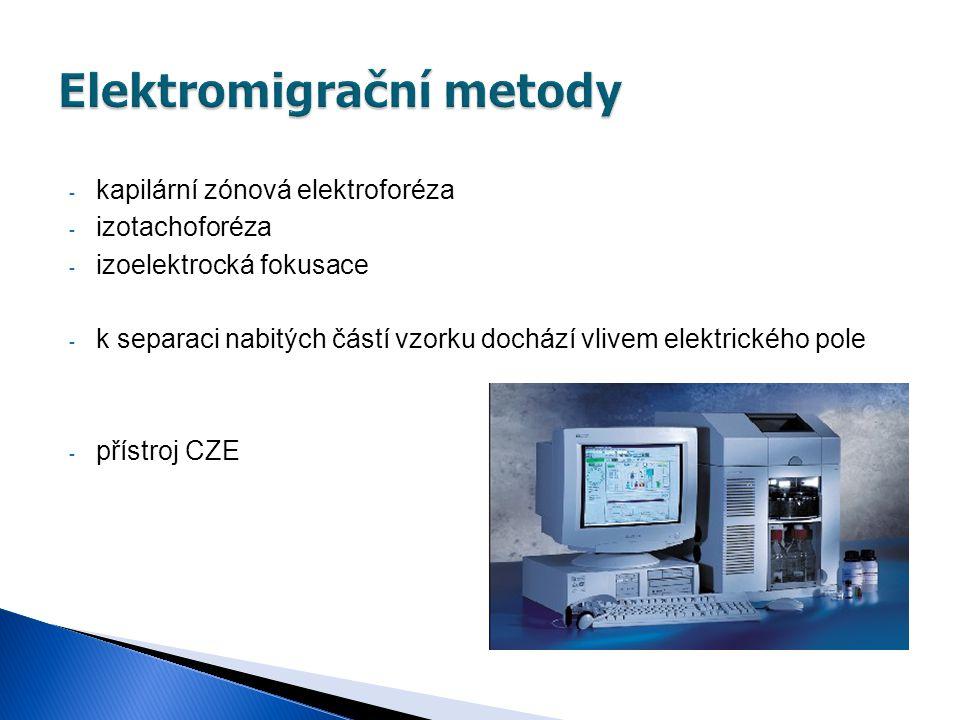 - kapilární zónová elektroforéza - izotachoforéza - izoelektrocká fokusace - k separaci nabitých částí vzorku dochází vlivem elektrického pole - příst